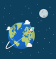 planet earth and moon in space vector image vector image