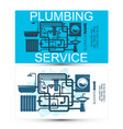 plumbing service and maintenance business card vector image vector image