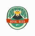royal beer label with cartoon king and hop cones vector image