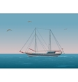 Sailboat in the sea and birds vector image vector image