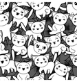 Seamless halloween kawaii cartoon pattern with vector image vector image