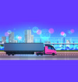semi truck trailer driving city road 5g online vector image