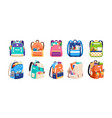 set childish school backpacks and schoolbags vector image
