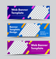 set horizontal banners with abstract shape vector image vector image