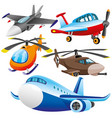 set of aircraft and helicopters vector image