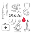 Set of medical icons isolated line sketch vector image