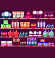 shelves with woman cosmetic beauty salon showcase vector image