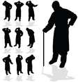 sick man black silhouette vector image