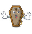 surprised coffin mascot cartoon style vector image
