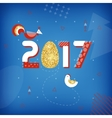 Symbol of good luck in 2017 Rooster chicken and vector image