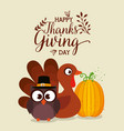 thanks giving card with turkey and owl vector image
