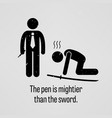 the pen is mightier than the sword stick figure vector image vector image