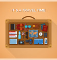 travel time concept with suitcase in flat style vector image vector image
