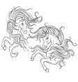 two beauty unicorn coloring book vector image