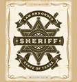 vintage western sheriff label graphics vector image vector image