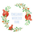 watercolor pomegranate organic wreath vector image vector image