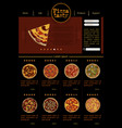 web site template with varieties of pizza vector image vector image