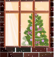 window view with christmas tree background vector image