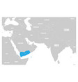 yemen blue marked in political map of south asia vector image vector image