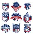 set of baseball emblems baseball tournament vector image