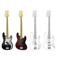 bass guitars vector image