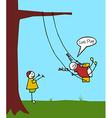 Kids swinging in the garden vector image
