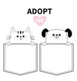 adopt me red heart cute dog cat in pocket vector image vector image