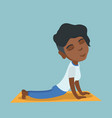 african woman practicing yoga upward dog pose vector image vector image