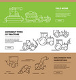 agriculture banners farm machinery harvester vector image vector image