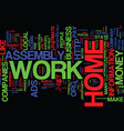 assembly work at home scams text background word vector image vector image