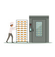 baker carrying rack full of bread to an industrial vector image vector image