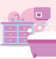 bathtub furniture washbasin hand dryer bubbles vector image