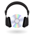 black headphones cd disc vector image