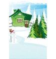 Brick house and snowman with santa hat vector image vector image