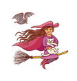 bright pretty good girl witch on broom with vector image
