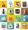 Cosmetics icons set flat style vector image