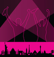 couple with monument building pink vector image vector image