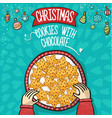 cristmas cookies with chocolate hand draw vector image