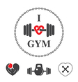 Emblem i love gym vector image
