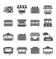 farmer vegetables market with cover icon set vector image vector image