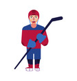 flat ice hockey player man isolated vector image vector image