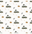 hand drawn seamless pattern with car gift boxes vector image vector image