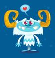 Happy cartoon bigfoot in love vector image