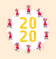 happy new year 2020 with symbol rats figures from vector image