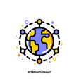 icon of globe for international financial markets vector image vector image