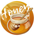 jar honey and stick cartoon icon vector image vector image