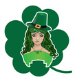 Leprechaun girl with shamrock vector image vector image