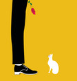 man with white cat vector image vector image