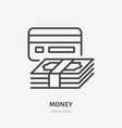 money flat line icon cash and credit card sign vector image vector image