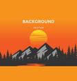 mountain sunrise sunset landscape with pine cedar vector image